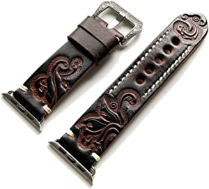Dark Brown Tooled Embossed Genuine Leather Luxury Band Strap Bracelet with Engraved Buckle Compatible with Apple Watch 38mm iWatch 1 2 3 Series