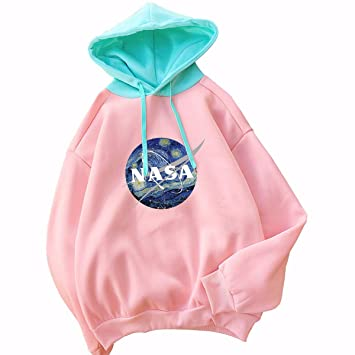 W&TT Mujer NASA Nacional Espacio administración Logotipo Estampado con Capucha Sudadera,Pink,XL