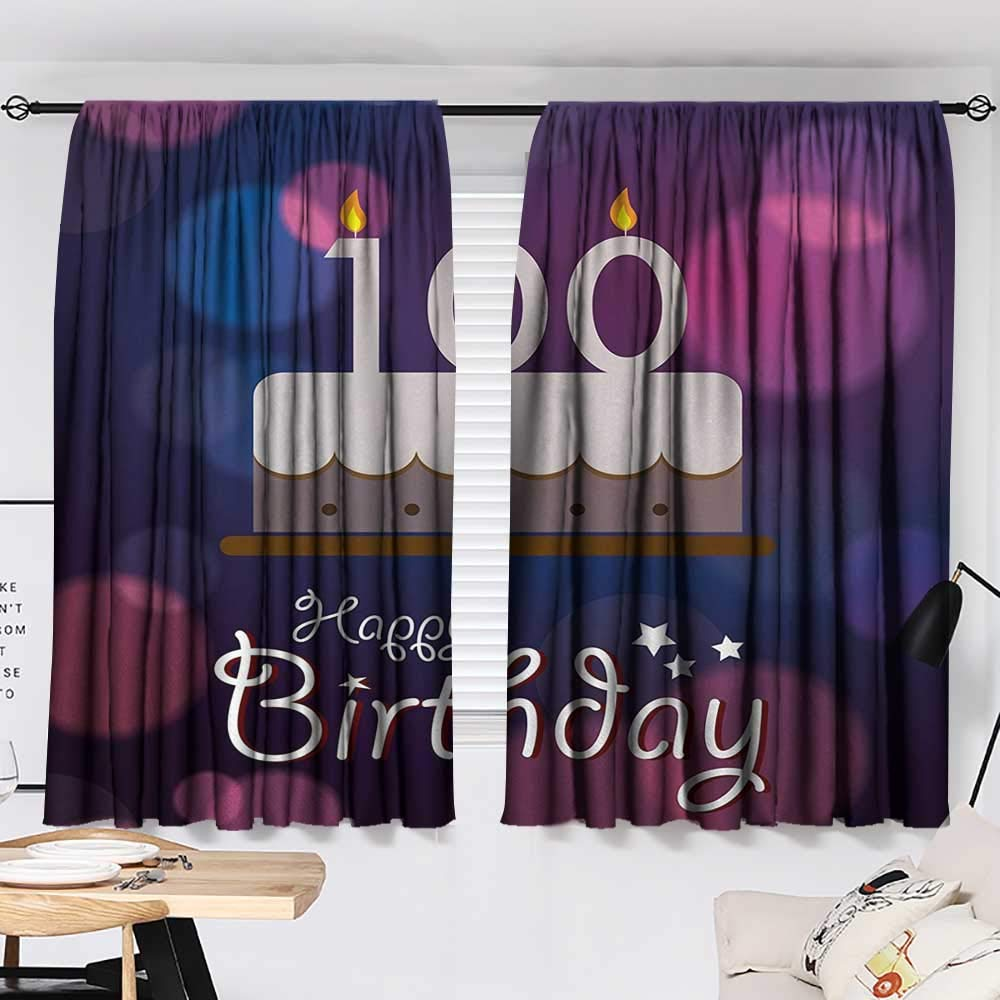 Jinguizi 100th Birthday Curtain Kitchen Window Cartoon Print Cake and Candles on Abstract Backdrop Image Artwork Print Image Darkening Curtains Purple and Pink W55 x L39 by Jinguizi (Image #2)
