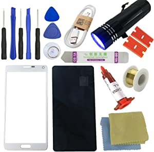 for Samsung Galaxy Note4 Screen Replacement-[Direct Screen], Sunmall Front Outer Lens Glass Screen Replacement Repair Kit LCD Glass Repair Kit for Samsung Galaxy Note4 N9100 N910A N910P N910T (White)