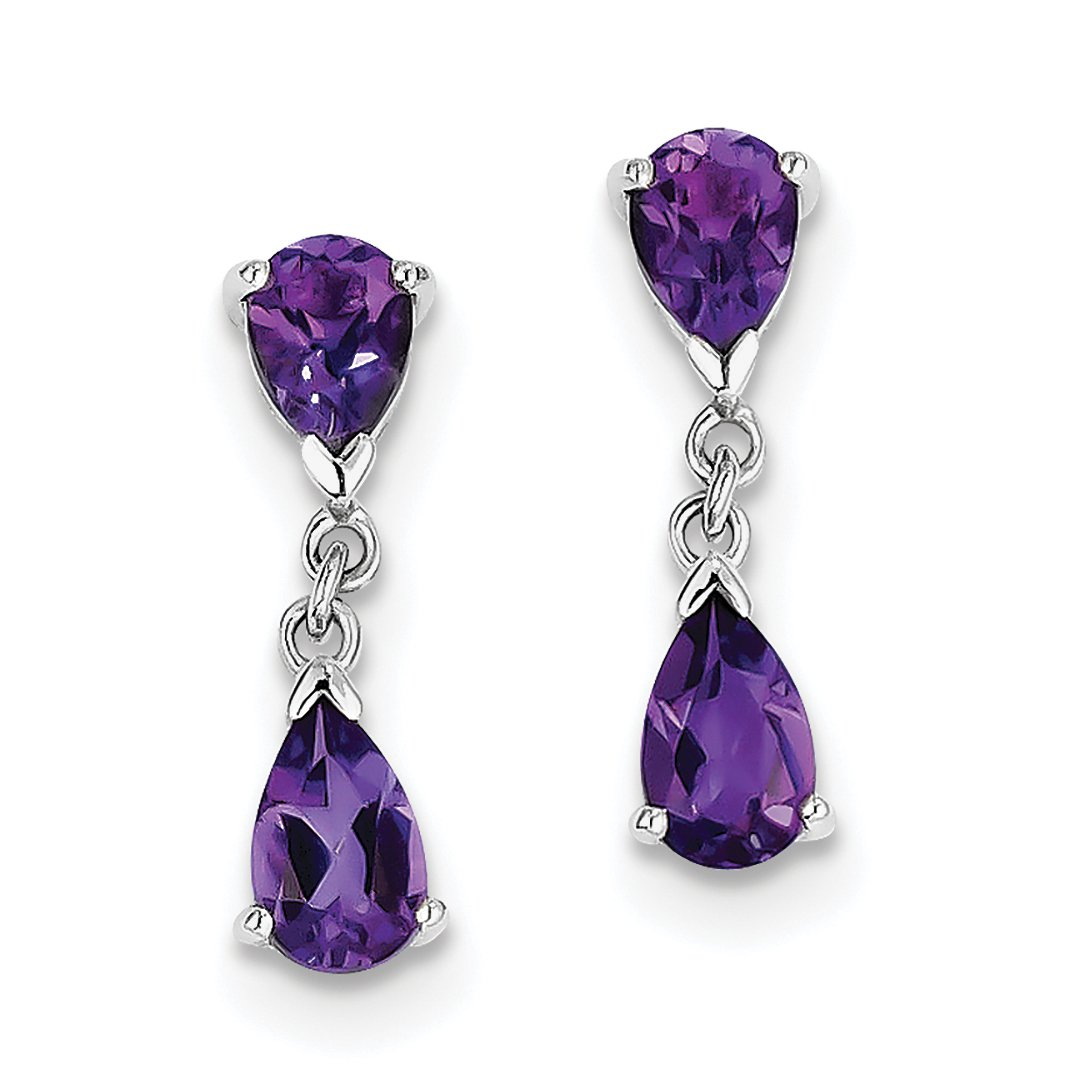 ICE CARATS 925 Sterling Silver Purple Amethyst Post Stud Drop Dangle Chandelier Earrings Fine Jewelry Gift Set For Women Heart