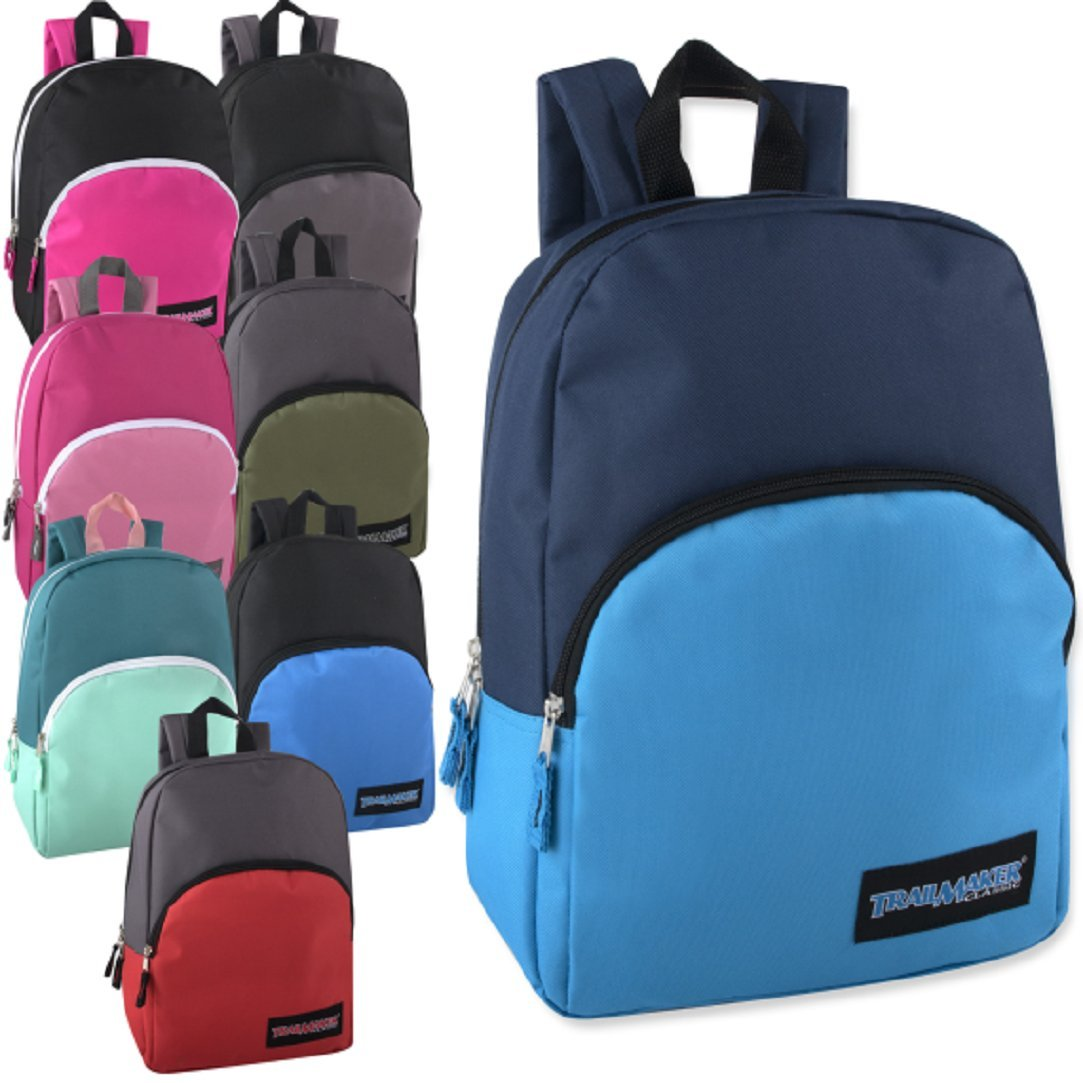 Classic 15 Inch Backpacks Bulk Wholesale Lot Case Pack 24 Back to School Supplies (8 Two Toned Colors)