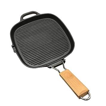 Sartenes de hierro fundido con mango Steak Pan sarten grill antiadherente 25cm - Plegable al aire libre: Amazon.es: Hogar