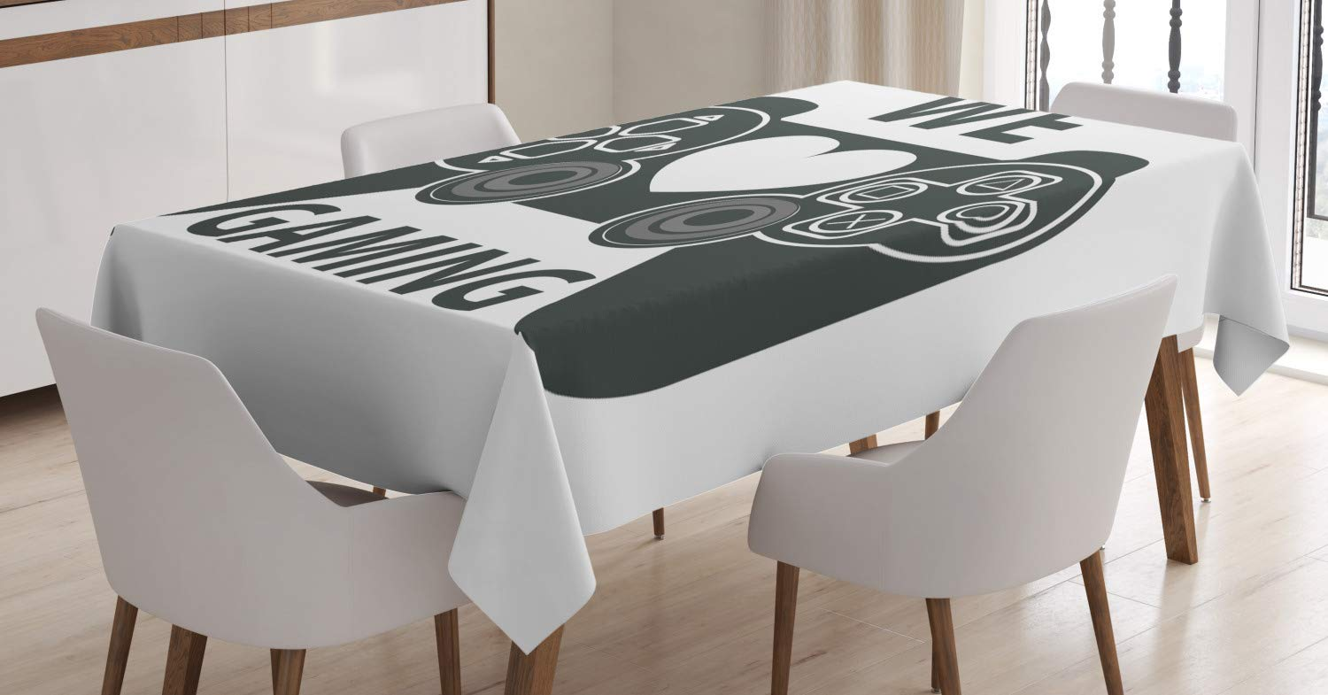 We Love Gaming Quote Greyscale Controller Design with Heart in The Middle Charcoal Grey White tc/_57349/_60x84 Dining Room Kitchen Rectangular Table Cover 60 W X 84 L inches Lunarable Gamer Tablecloth