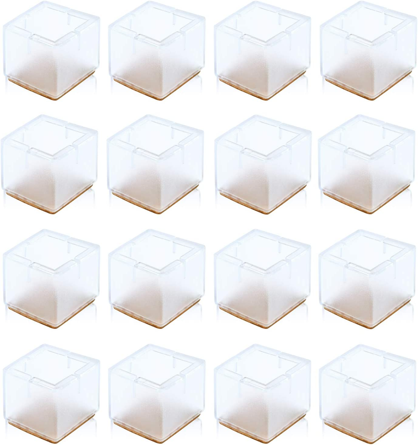 Silicone Furniture Chair Legs Caps, Furniture Leg Silicon Protection Covers, Anti-Slip Bottom Chair Pads, Foot Protection Bottom Cover Prevents Scratches and Noise Without Leaving Marks (Square)