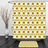 Vipsung Shower Curtain And Ground MatSunflower Decor Set Sunflowers Pattern Autumn Country Style Decorating Retro Illustration Print Yellow White GreenShower Curtain Set with Bath Mats Rugs