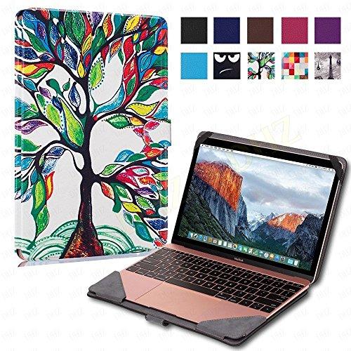 """DHZ Macbook 12"""" Case, Premium Quality PU Leather Book Cover"""