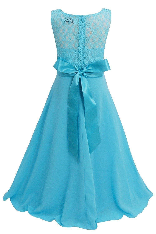 Amazon.com: FEESHOW Kids Big Girl Lace Flower Chiffon Junior ...