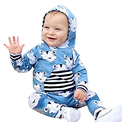 New Toddler Clothes Outfits,Matoen Baby Girls Boys Tiger Animal Hooded Tops+Pants