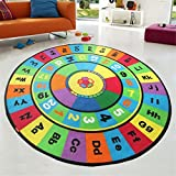 Dbtxwd Children's carpet Cartoon Early education puzzle Letter Digital Round Rugs Bedroom Living room Non-slip mats 200200cm , 2