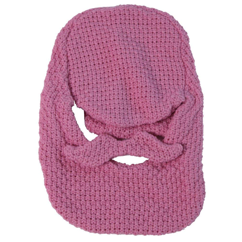 Pink Edition Beard Head Crochet Hat Face Mask With Beard And