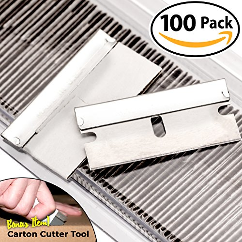 Ultra Sharp, USA-Made Steel Razor Scraper Blades Bulk 100 Pack by Nova Supply with Bonus Carton Cutter Tool! Strong Single Edge 1.5 in Blade for Scrapers and Cutting Tools in a Safe, Reclosable Box - Edge Razor Sharp Edge