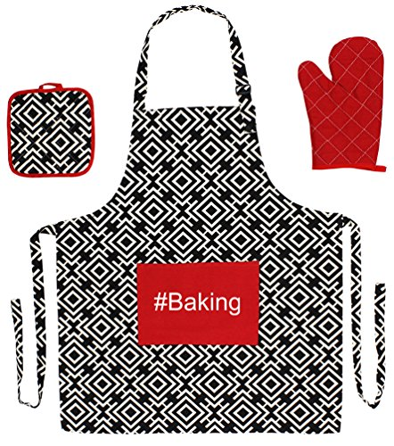 #Baking Funny Aprons 3-piece Cooking Apron Set with Oven Mitt and Pot Holder Black Greek Square (Grandmas Little Chef compare prices)
