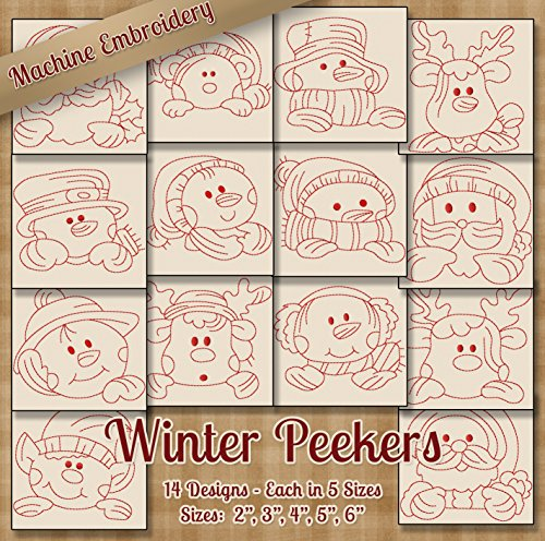 (Winter Peekers Redwork Embroidery Machine Designs on CD - 14 Outline Style Designs - 5 Sizes Each - ART ART70 PES JEF EXP SEW XXX VIP HUS DST Santa Snowman)