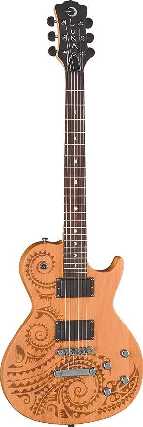 Luna Guitars Apl Tat Apollo Guitare Electrique Acoustique Motif