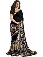 Art Decor Sarees Art Silk Saree With Blouse Piece(Black-Georgette_Black Free Size)