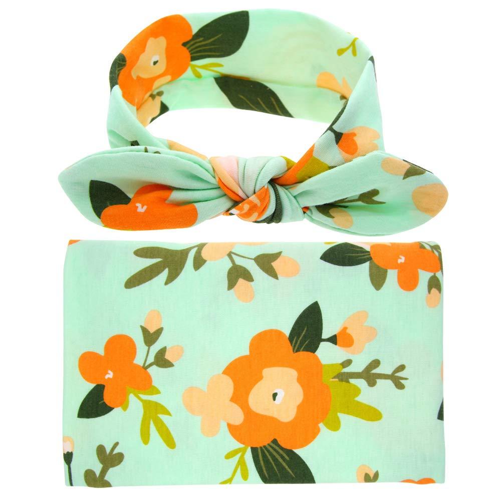 Sommeil de bébé Swaddle Blanket Grand et Bow Bandeau Ensemble imprimé fleurs Swaddle Ananas Couverture huiciBeauty