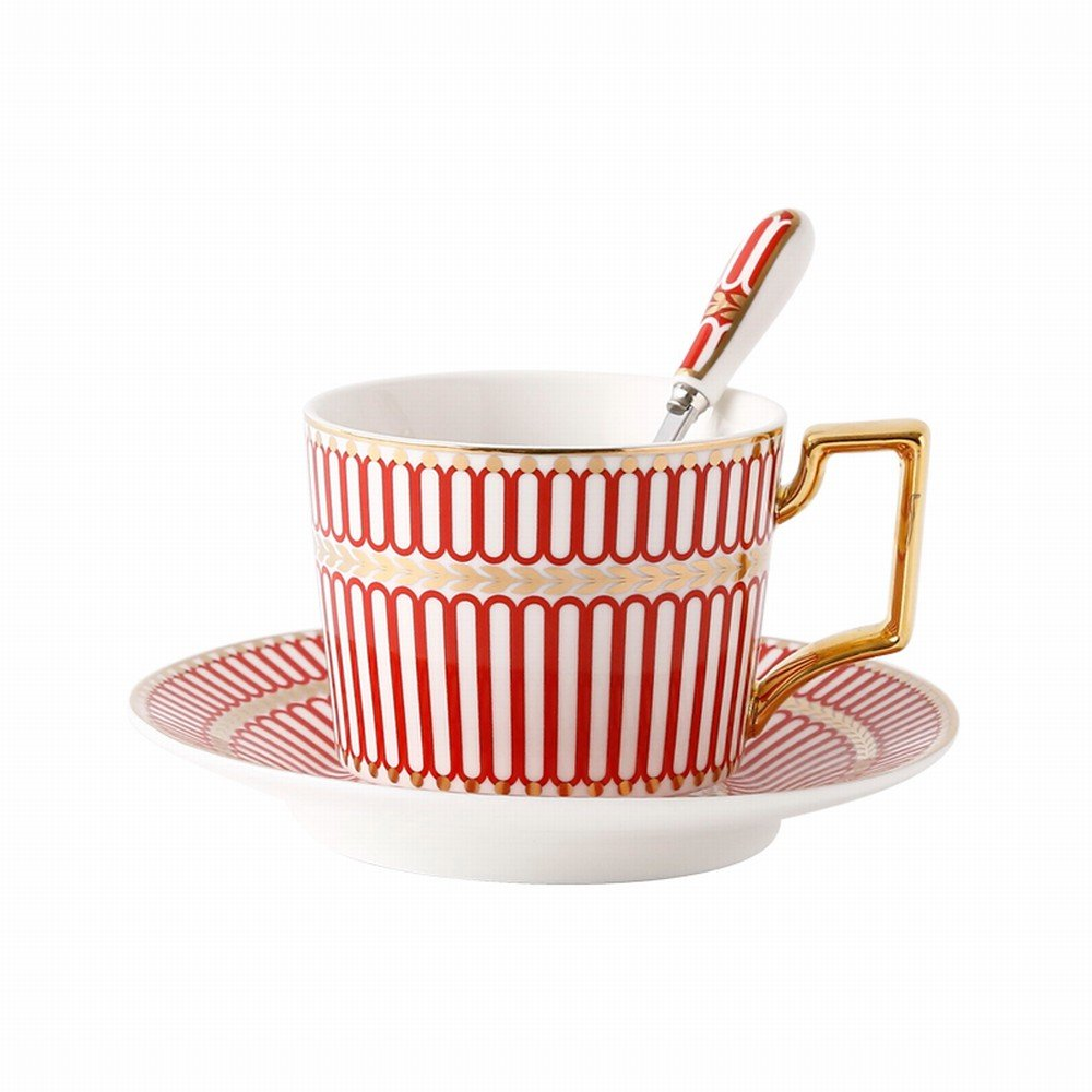PLLP Continental Phnom Penh Coffee Cup English Bone China Coffee Cup and Saucer Set High-End Simple Afternoon Tea Black Tea Set,D