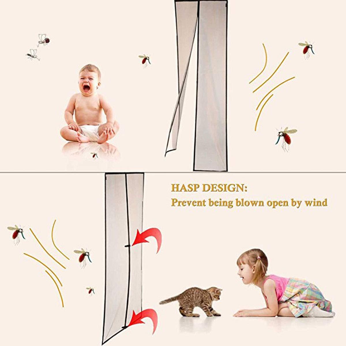 porte moustiquaire magn/étique d/ét/é emp/êchent les insectes dentrer dans le rideau en treillis moustiquaire pour portes jusqu/à 120 x 220cm,Blue,80X200CM La porte moustiquaire