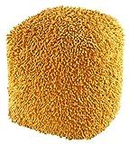 Shagadelic Chenille Shag Pouf Ottoman, 19-Inch, Yellow For Sale