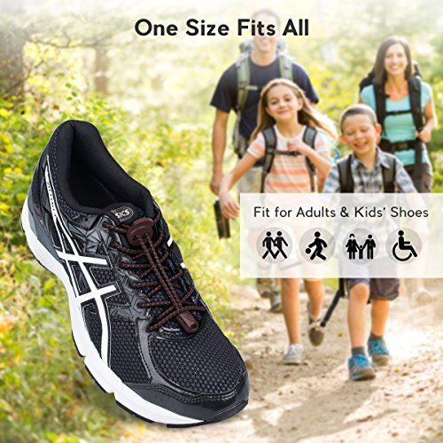 Running Kids Laces Climbing Shoe No for Adults Shoelaces and Reflective Lacing Lock Elastic Shoes with 3 Hiking for System Pairs Brown Quick Running Tie 17I4xcwOq