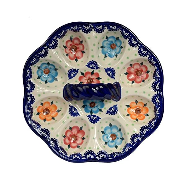 Traditional Polish Pottery, Handcrafted Ceramic Devilled Egg Platter with Handle, Boleslawiec Style Pattern, D22cm, S.102.BLUELACE