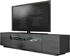 """MEBLE FURNITURE & RUGS Miami 200 Modern 90"""" TV Stand High Gloss Front, 16 Colors LED (Dark Grey)"""