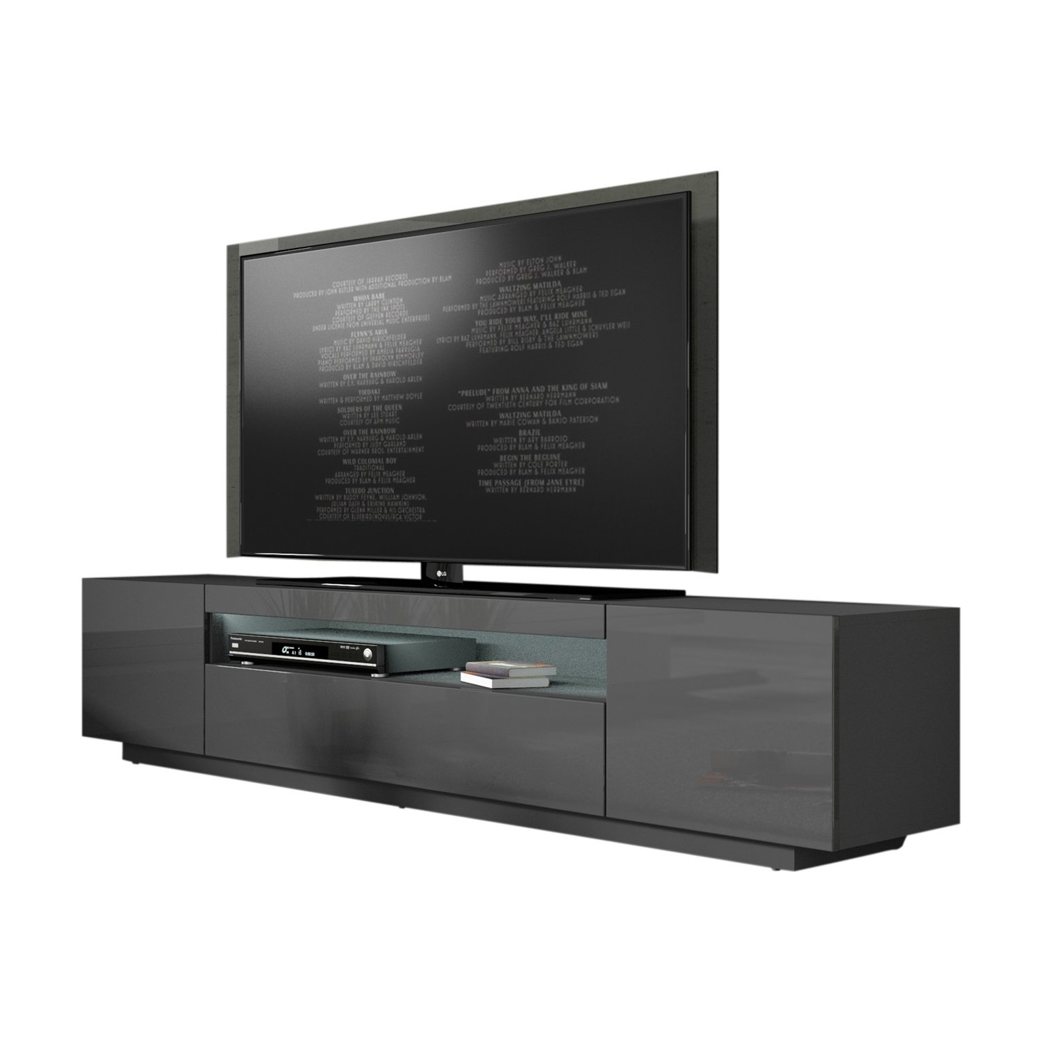 MEBLE FURNITURE & RUGS Miami 200 Modern 90'' TV Stand High Gloss Front, 16 Colors LED (Dark Grey) by MEBLE FURNITURE & RUGS