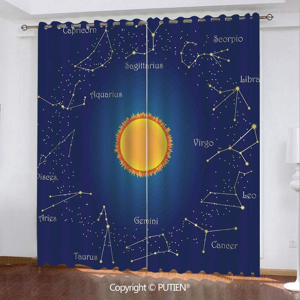 Amazon com: Satin Grommet Window Curtains Drapes [ Astrology