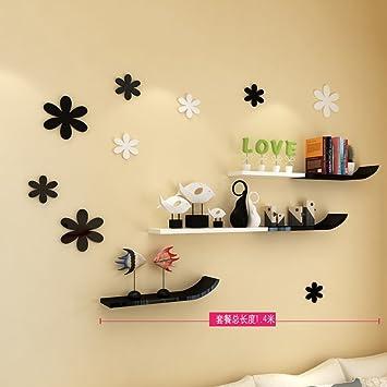 KLWJ Dekoratives Wand Buch Regal,Wandhalterung Corner Regal Set Hängende  Blume Rack Rohstoff Kreativ Einfach