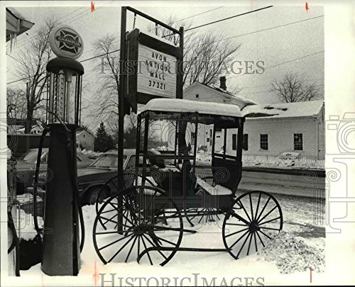 1981 Press Photo Old Gas pump circa 1920's and buggy front of French Creek - 8 x 10 in. - Historic Images ()