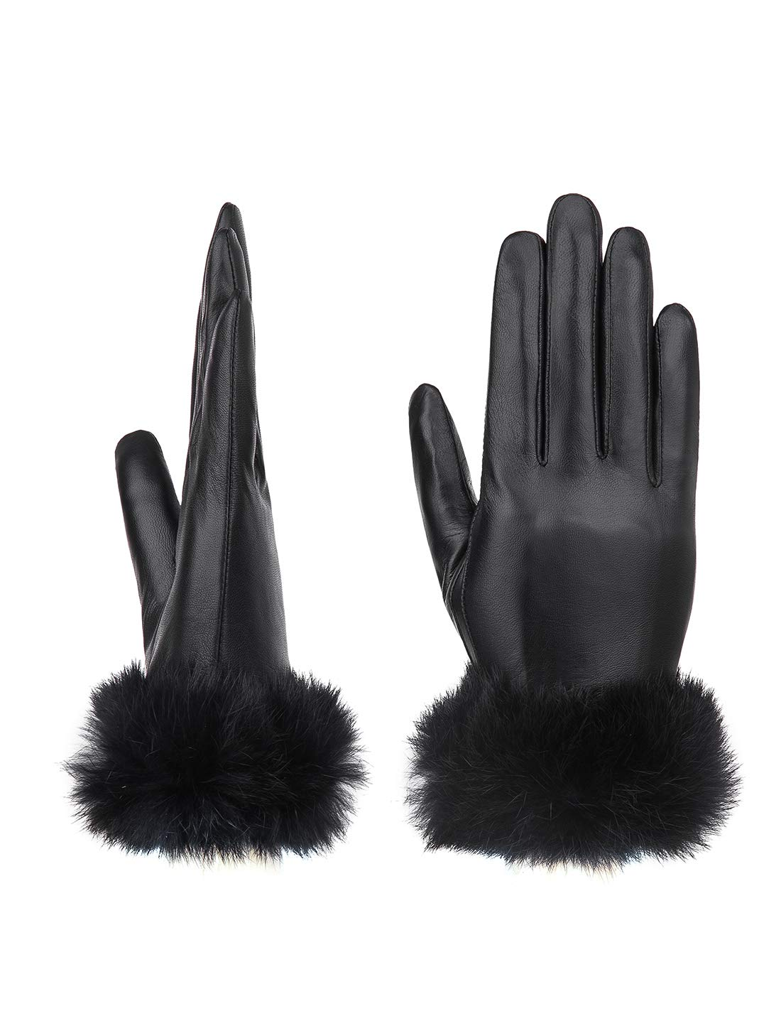 9a5765be2 YISEVEN Women's Touchscreen Lambskin Leather Gloves Wool Fur Cuffs Plain  Fleece Lined Real Luxury Stylish Elegant Warm Heated Winter Ladies  Accessories ...