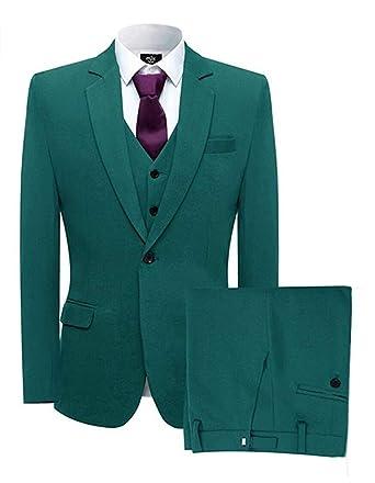 4450019f9 Classic One Button Wedding Suits 3 Pieces Men's Suit Groom Tuxedos 34 Chest  / 28 Waist