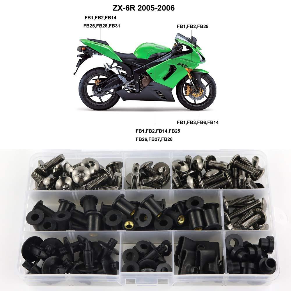 Xitomer Full Sets Fairing Bolts Kits Matte Black Mounting Kits Washers//Nuts//Fastenings//Clips//Grommets for Kawasaki NINJA ZX-6RR 2005 2006
