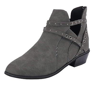 Darringls_Zapatos de Invierno Mujer,Zapatillas Botas de Mujer Zapatos Confort Pisos Lace Up Calzado de Punta Redonda: Amazon.es: Ropa y accesorios