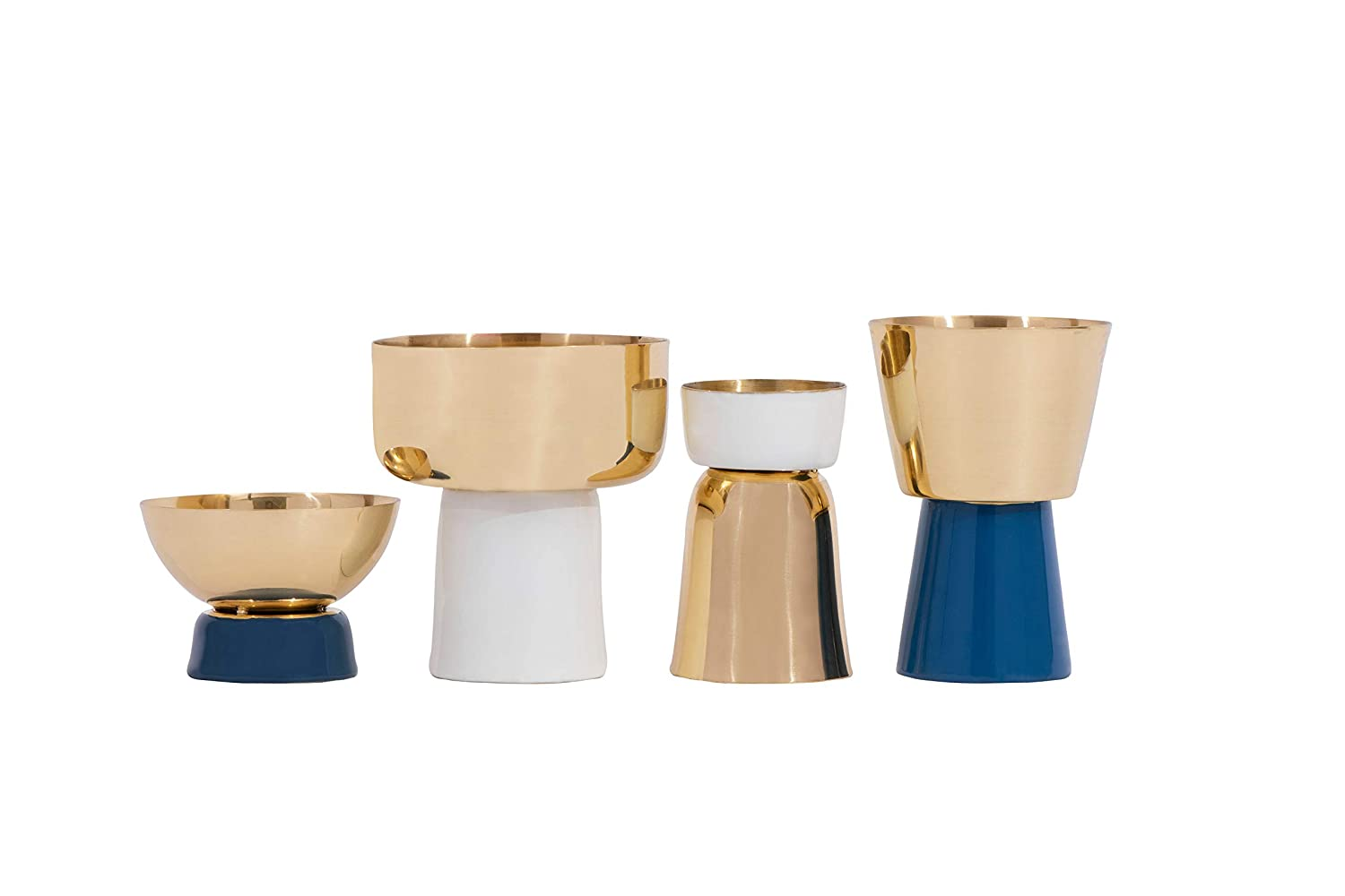 Bloomingville Creative Co-Op Set of 4 Decorative Metal Tealight Gold White /& Blue Finishes 01-Candle Holders AH0140