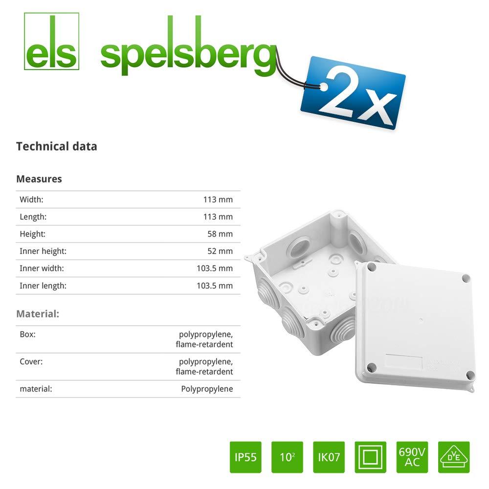 ELS Spelsberg Bo/îte de d/érivation 7 voies IP 55 Connecteurs /étanches pour /éclairage ext/érieur Bo/îte de d/érivation externe 7 Nipples encastr/és Plage d/étanch/éit/é 5-16mm pour bornes j