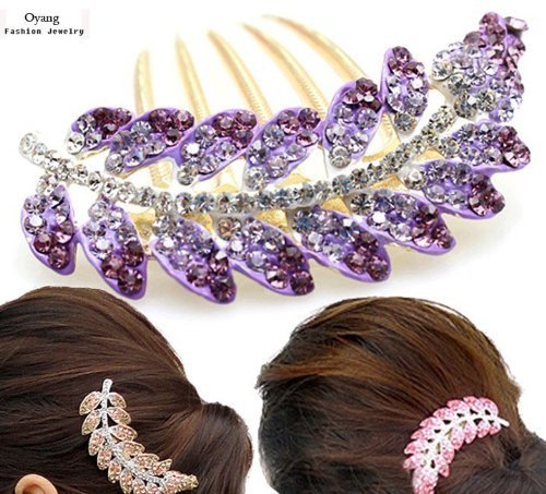 FOONEE New Lovely Fashion Purple Leaves Crystal Hair Clip Hairpin