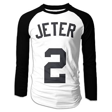 43e077c40 CDBA Derek Jeter NO.2 Long Sleeve Baseball Jersey T Shirts For Mens Black