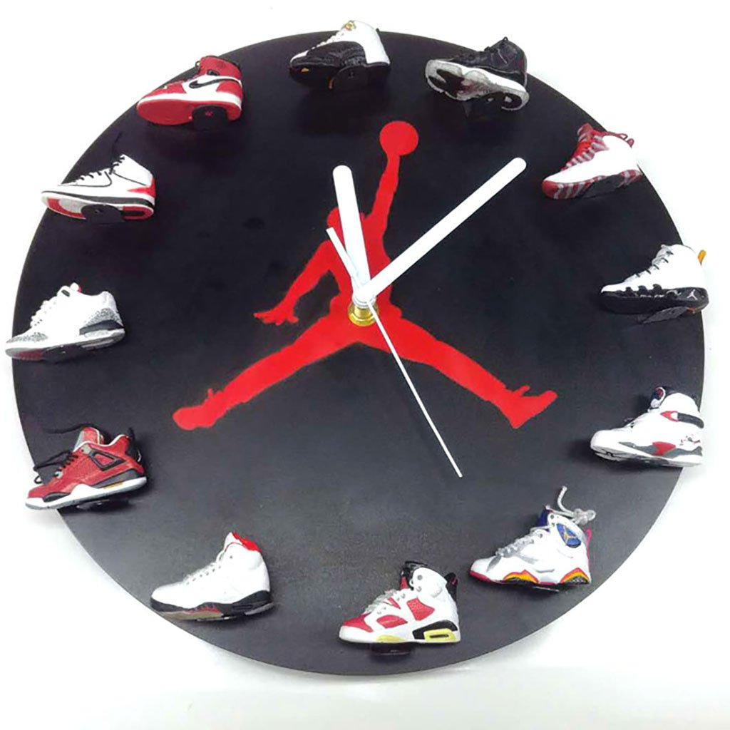 JLRQY Wall Clocks Sneaker 3D Mini Style Large Round Clock Personality Creativity Home Decoration,A
