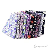 """RayLineDo 10 Pcs Different Pattern Multi Color 100% Cotton Poplin Fabric Fat Quarter Bundle 18"""" x 22"""" Patchwork Quilting Fabric Purple and Navy Series"""