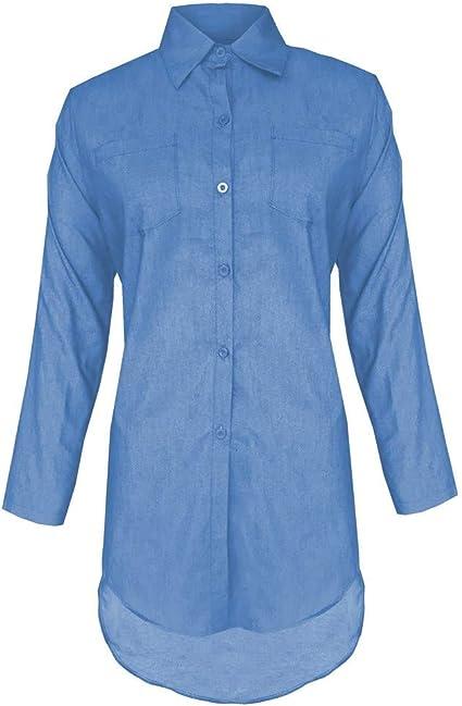 ZODOF Azul Mezclilla Camiseta Manga larga Casual Suelto Camisa Mini abrigo de vestir vestidos verano mujer/vestido denim mujer(S,Azul claro): Amazon.es: Belleza