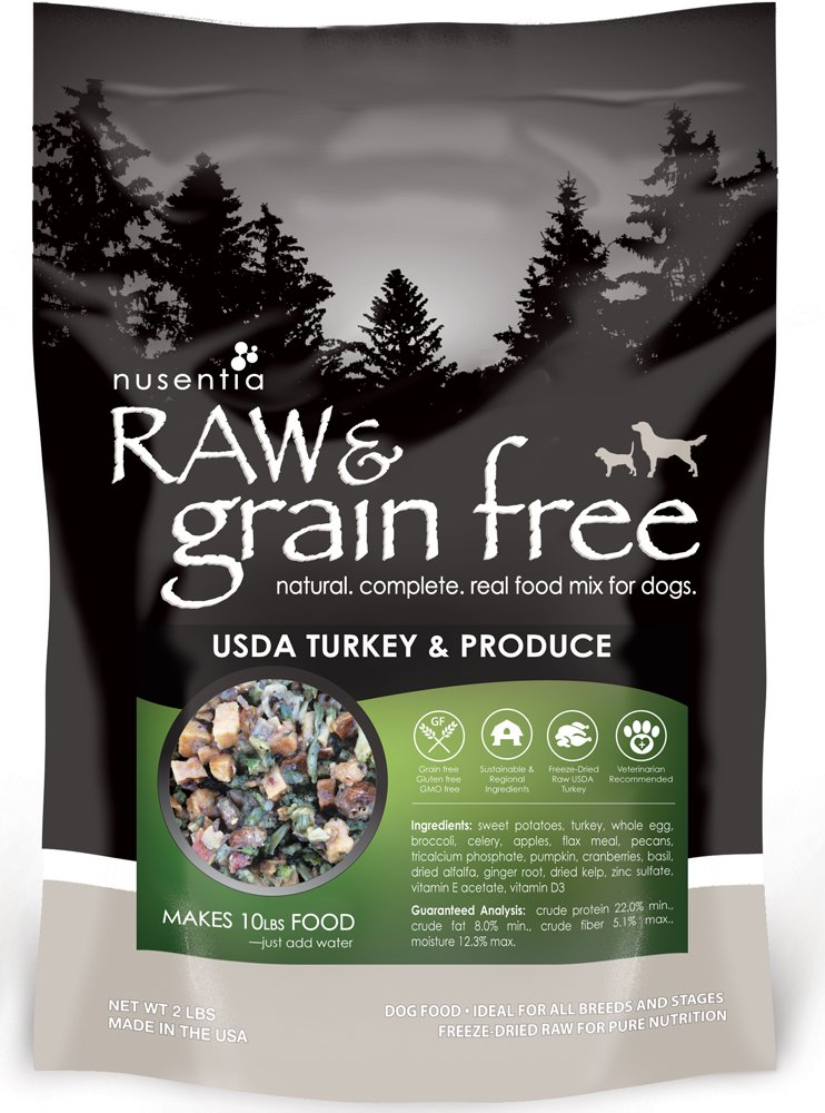NUSENTIA Raw & Grain Free Dog Food - Local Turkey & Produce Recipe - Dehydrated 2lbs (Makes 10lbs) - All Natural Wellness by NUSENTIA