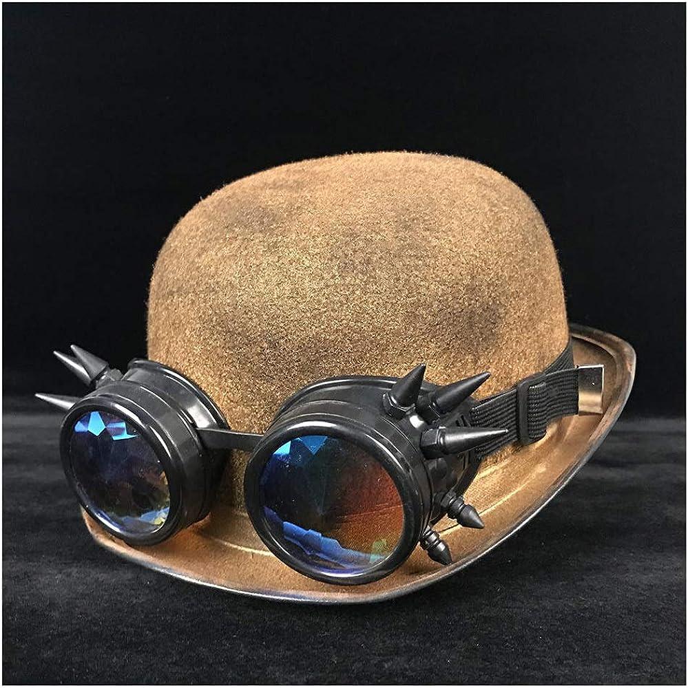 GBY Retro Mujeres Hombres Unisex Steampunk Bowler Hat con Steam Punk Gafas Topper Top Hat Sombreros Cúpula Billycock Novio (Color : Oro BLB, tamaño : 57-58 CM)