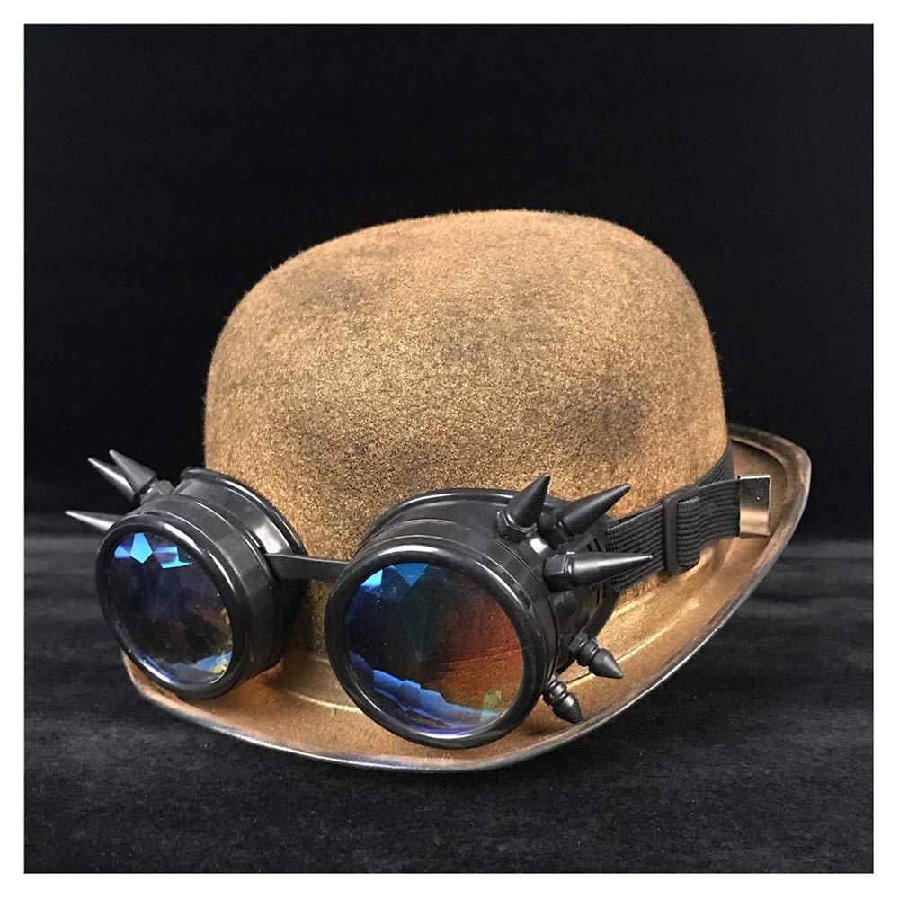 MUMUWU Fashion Women Men Unisex Steampunk Bowler Hat Glasses Topper Top Hats Fedora Billycock Groom Jazz Hat (Color : Gold BLB, Size : 57-58CM)