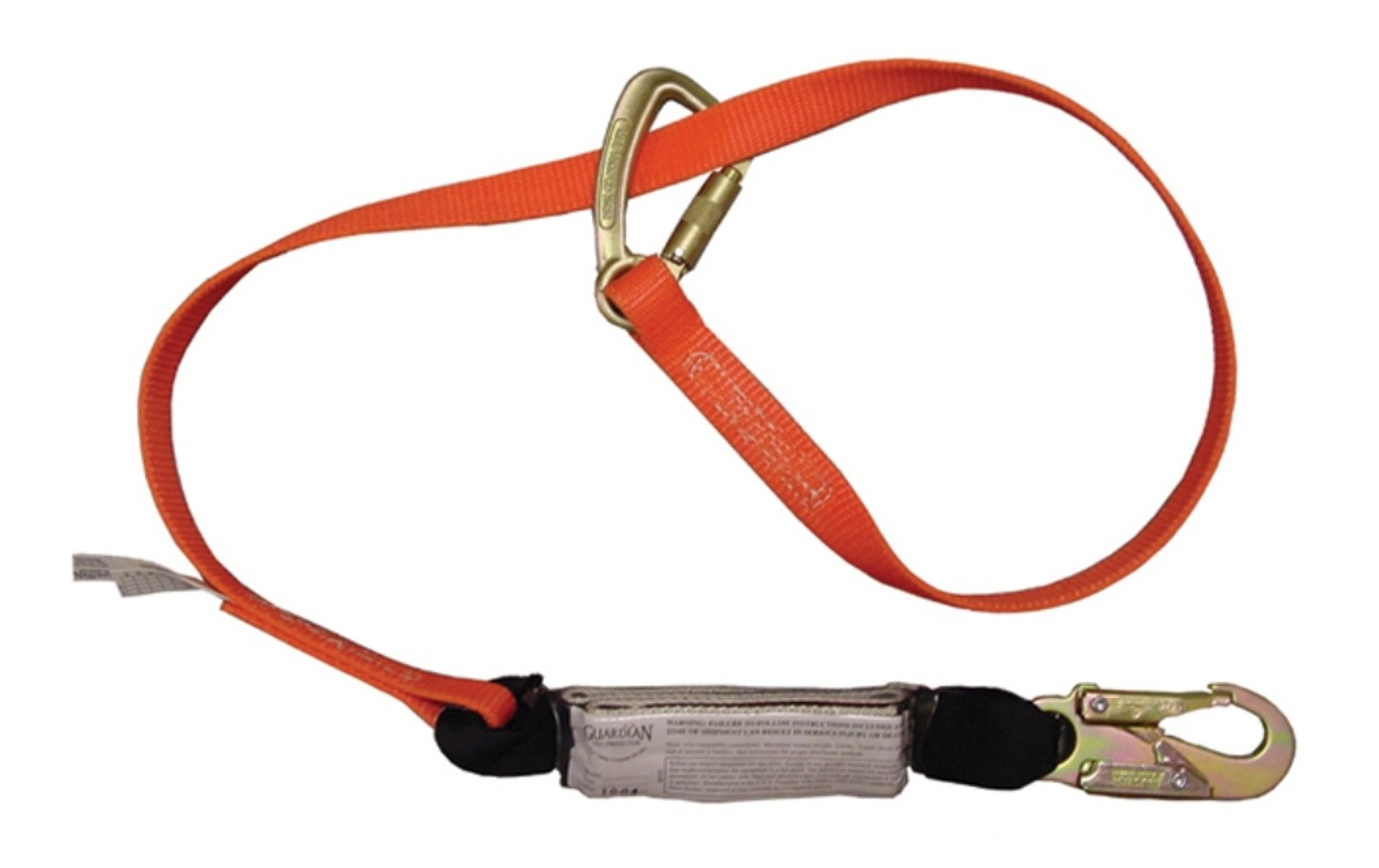 Guardian Fall Protection 11830 Single Leg Shock Stop Double Lock Wrap Lanyard, Adjustable from 4-Feet to 6-Feet