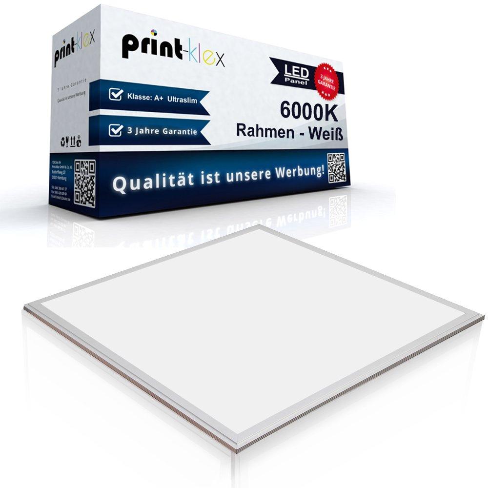 LED Panel Ultraslim 60 x 60 cm Einbauleuchte Lichtleuchte Strahler 50 Watt 4500 LM 6000K-Kaltweiß Rahmen Weiß - Office Print Serie Print-Klex GmbH & Co.KG