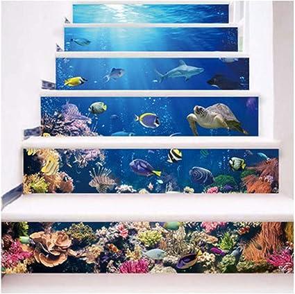 SERFGTFH Pegatinas De Escalera Cactus Macetas De La Habitación De Los Niños Decoración De Escaleras Escaleras Creativas Moda Pegatinas Decorativas: Amazon.es: Hogar