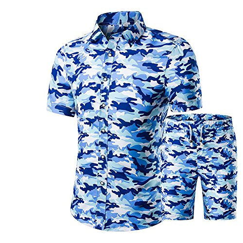 Aloha Pants - NiuZi Men's Summer Suit Short Sleeve Casual Button Down Shirt & Pants Set with Floral Print Beach Aloha Hawaiian Shirts (DC12, S)
