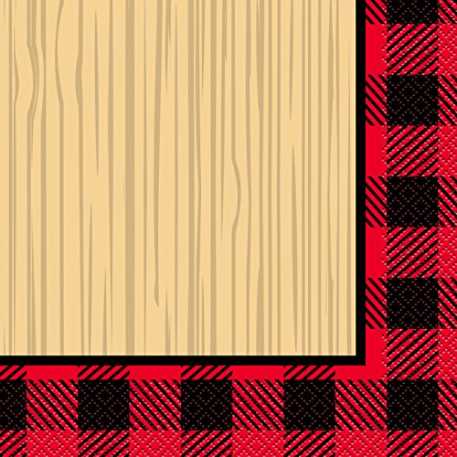 Unique Plaid Lumberjack Party Bundle | Luncheon & Beverage Napkins, Dinner Plates, Table Cover, Cups | Great for Country/Rustic Birthday Themed Parties by Unique (Image #4)